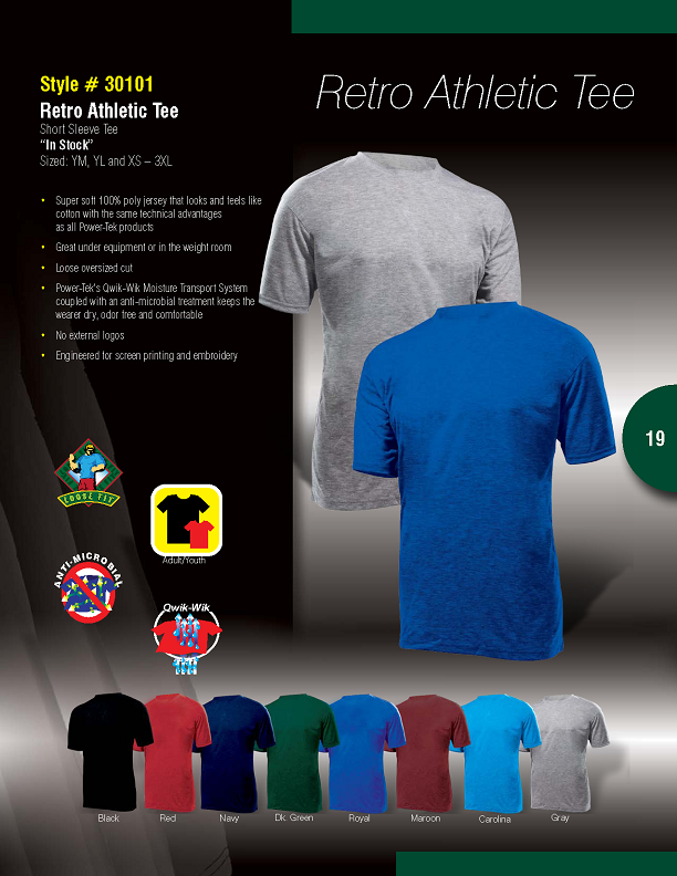30101 PowerTek Retro Athletic Tee