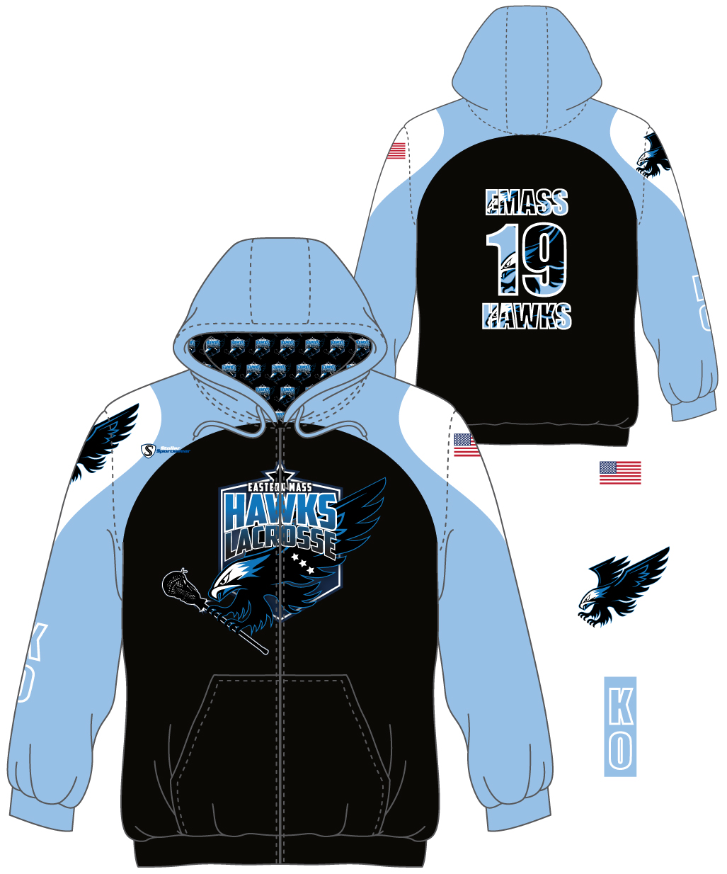Sublimated Full Zip Hoodie - Hawks 1