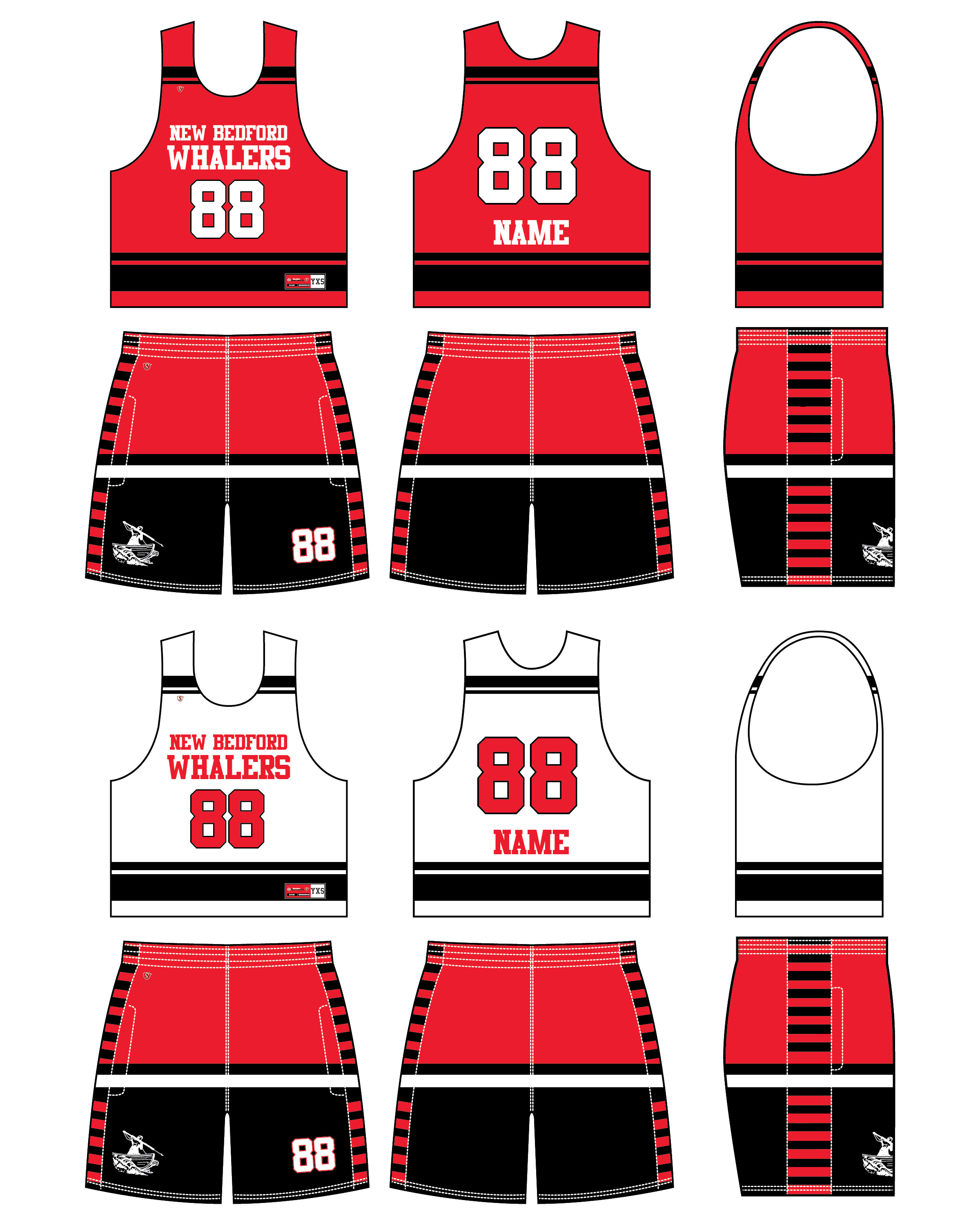 Custom Sublimated Lacrosse Uniform - Whalers