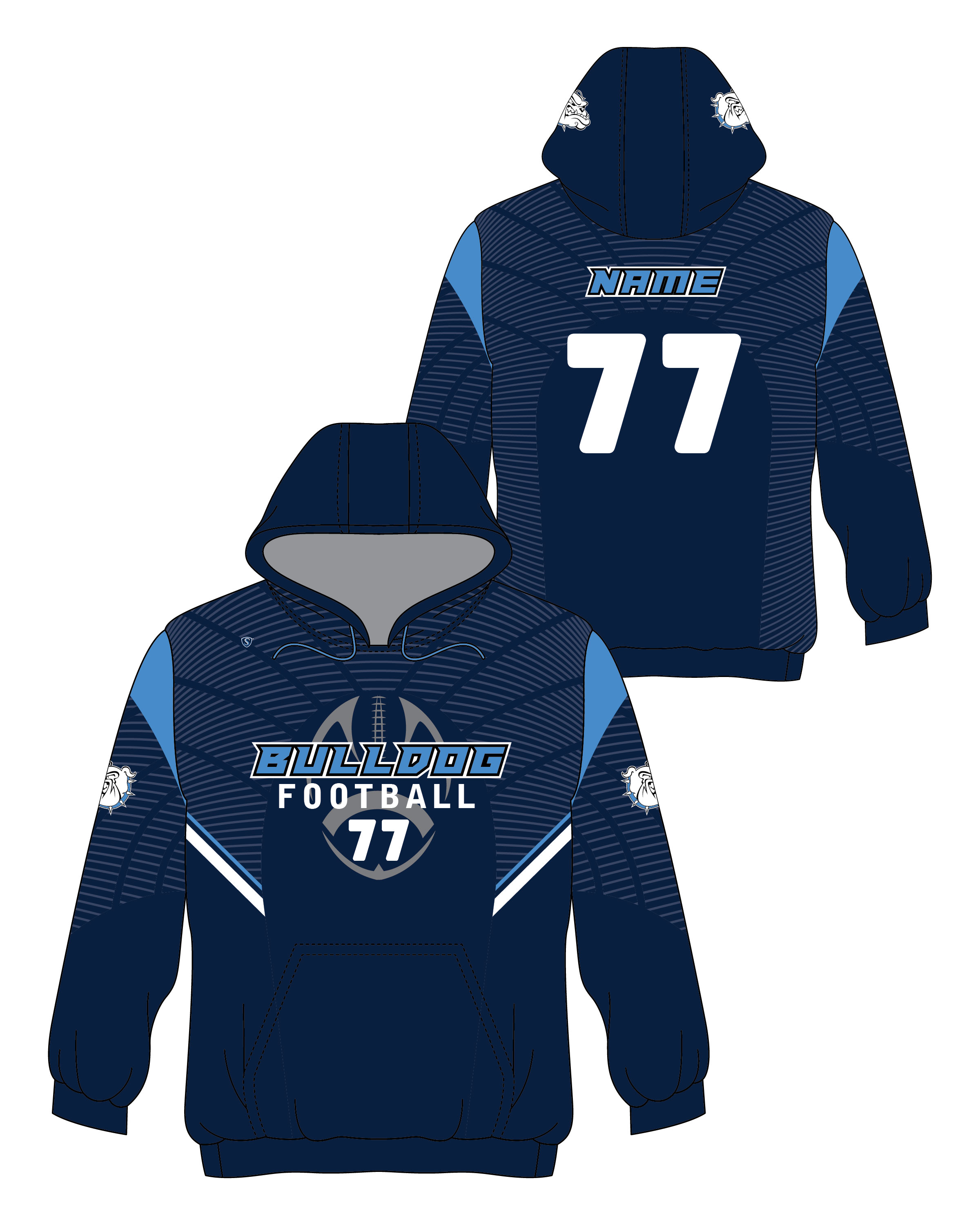 Custom Sublimated Hoodie - Bulldog