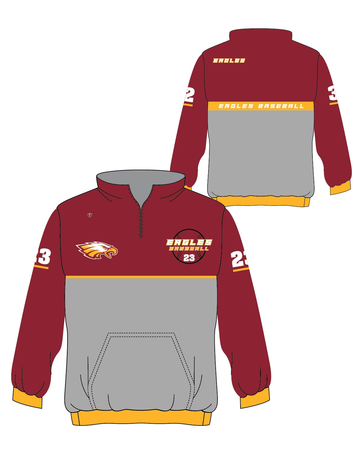 Custom Sublimated 1 4 Zip Pullover - Eagles 04a9c54eb